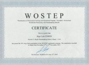 Rigo Luis Corizo Certification